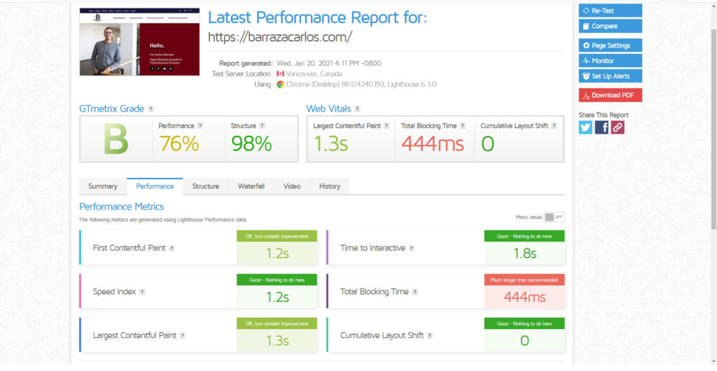 Cloudways-speed-test-gtmetrix