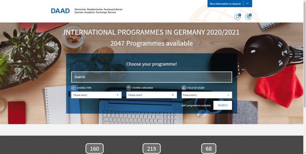 El sitio web de Daad para encontrar programas para estudiar en Alemania de forma gratuita